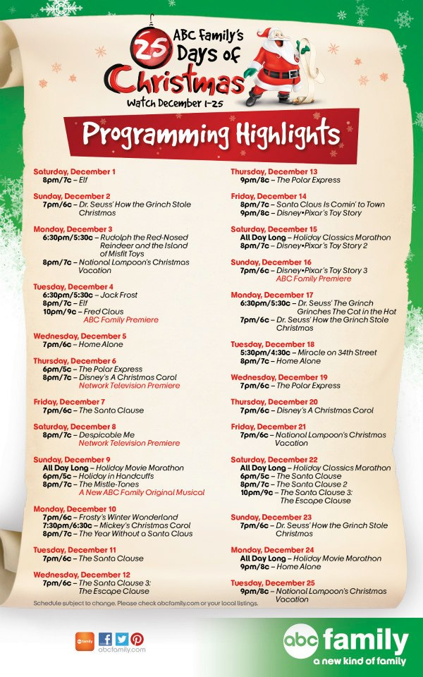 schedule for abc familys 25 days of christmas - Abc 25 Days Of Christmas